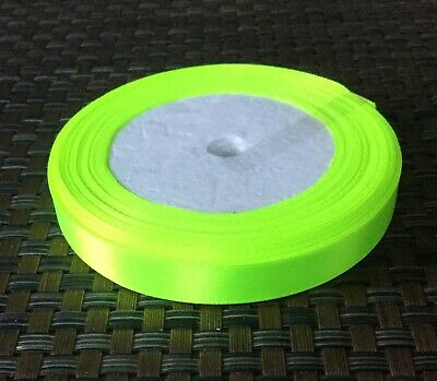 Neon Green Satin Ribbon -12mm wide - £1.50 for 5 meters