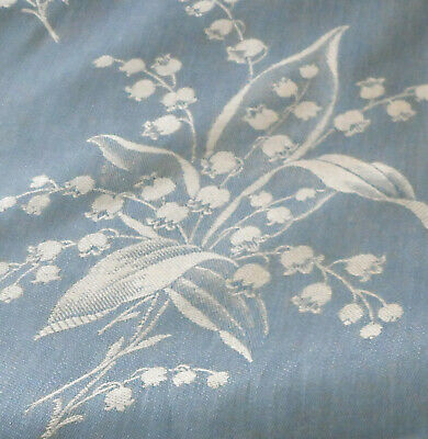 Vintage French Lily of the Valley Floral Damask Linen Ticking Fabric ~Blue White