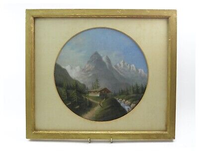 Antique 19th century Continental School oil painting Swiss river landscape