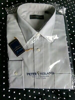 "Mens Peter England.Smart Pale Grey Long Sleeve Shirt 17"" Collar BNIP"