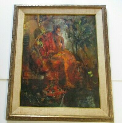 MYSTERY QUEEN PAINTING LARGE MODERNIST PORTRAIT 1970 EXPRESSIONIST THRONE  nude