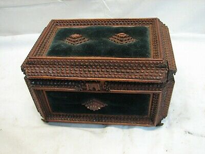 Tramp Art Box Americana Wooden Cigar Dresser Trinket Chip Carved Lions Paw Feet
