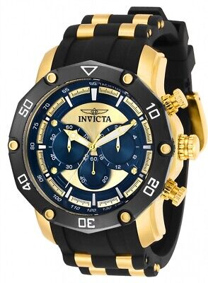 New Mens Invicta 30079 Pro Diver 50mm Chronograph Gold-Tone Blue Dial Watch