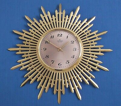 Vintage Junghans Starburst Sunburst Quartz Wall Clock Mid Century Works Superb