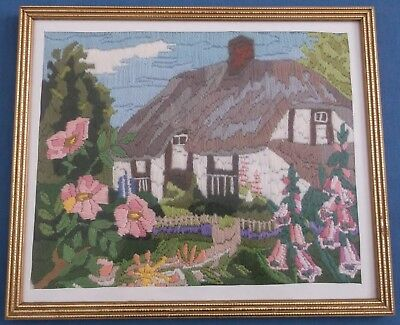 Vintage Hand Embroidered Picture Panel English Country Cottage & Gardens Superb