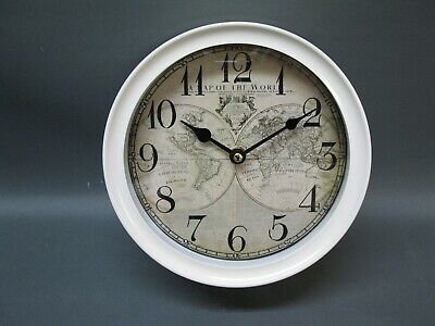 White Metal Wall Clock 22 cm Nostalgic Antique Style Loft Station World Map