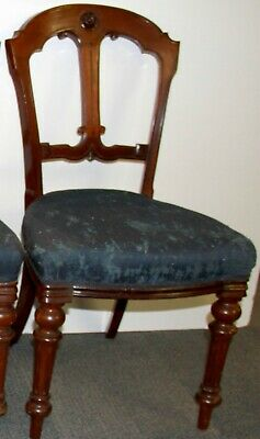 RARE Antique Victorian 19th Century Mahogany Salon Dining Chair For Up Cycling