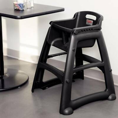 Rubbermaid Commercial Sturdy Chair Youth Seat High Chair with Wheels Black
