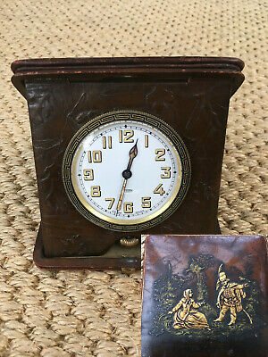 Rare Superb C.1915 Wwi Era Russian/Swiss Leather Goliath Travel Clock/Watch F.w.