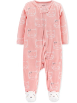 Carter's Baby Girls Cat-Print Footed Coverall in pink NWT $18 Age 6 months