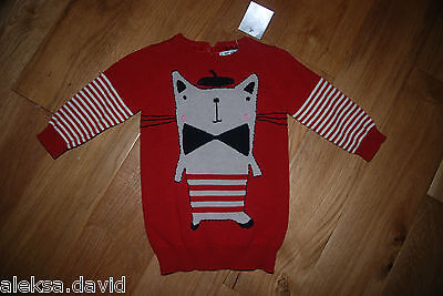 RRP £18 BNWT NEXT 3-4 years GIRLS JUMPER DRESS WITH CAT RED/BLACK