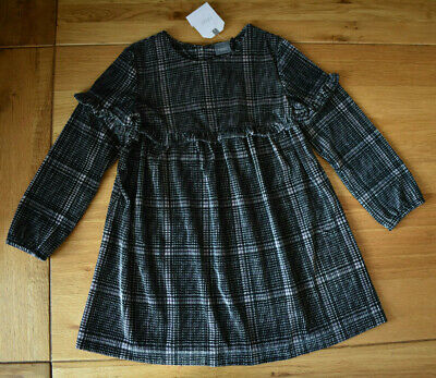 BNWT NEXT 2-3 years girls BLACK VELOUR CHECKED SMART DRESS WITH FRILLS