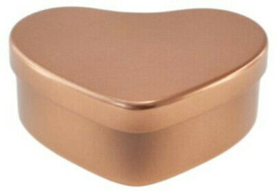 10 rose gold coloured love heart candle making tins. 50ml