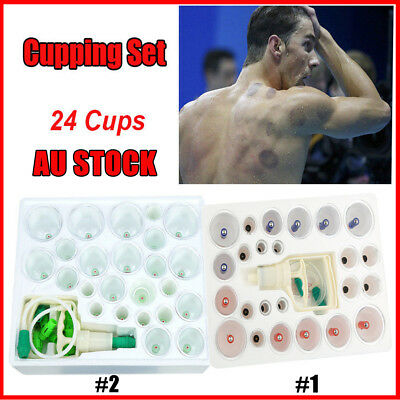 24 Cups Vacuum Cupping Kit Massage Acupuncture Suction Massager Pain Free Set AU
