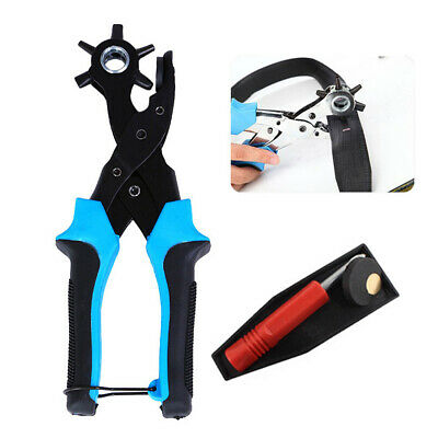 Heavy Duty Strap Leather Hole Punch Hand Plier Belt Punch Revolving For DIY OK