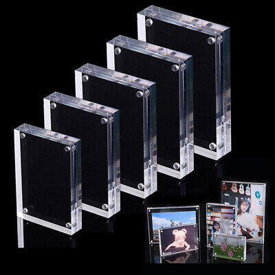 Clear Acrylic Photo Frame Set Freestanding Polished Picture Photo Frame