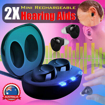 2XRechargeable Invisible Digital Mini Hearing Aid Enhancer Sound Voice Amplifier