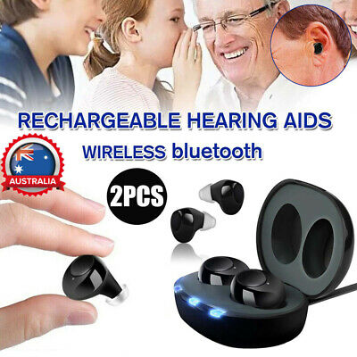 2PCS Invisible Digital Ear Hearing Aid Sound Voice Amplifier Rechargeable AU