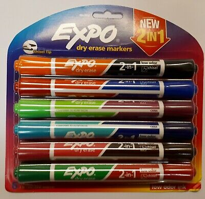 EXPO 2 IN 1 Dry Erase Markers 6 PACK, 12 COLOURS
