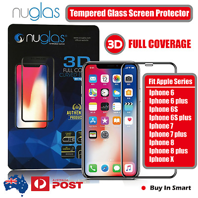 Nuglas 3D FULL Cover 9H TEMPERED GLASS Screen Protector iPhone 6 6S 7 8 PLUS x
