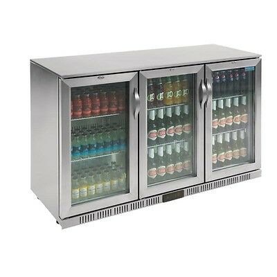 Polar Back Bar Cooler with Three Hinged Doors in Silver 330Ltr - GL009  Catering