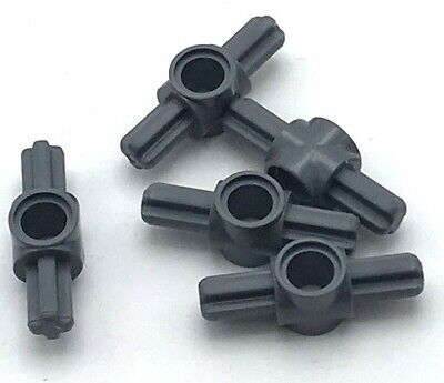 Lego 4 Dark Bluish Gray technic axle and pin connector grooved #4 NEW