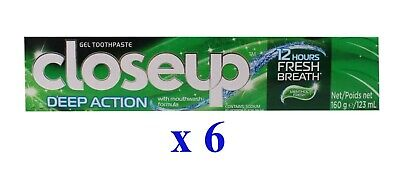 6 x CLOSE UP 160g TOOTHPASTE DEEP ACTION MENTHOL FRESH - NEW