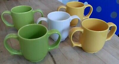 5 x Wade Green Yellow White Dignity Mobility Two Handled Mugs Cups - Barely Used