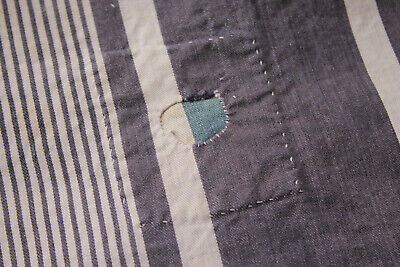 Antique French Striped Ticking Heavy Cotton Indigo Blue & White Fabric Patch