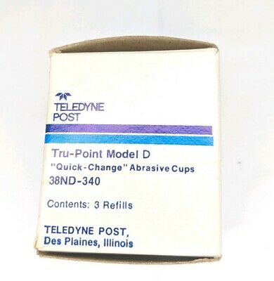 3-Ct. TELEDYNE POST Tru-Point Model D Quick Change Abrasive Cups 38ND-340 Cups