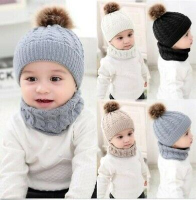 Baby Toddler Kids Winter Warm Knitted Crochet Beanie Hat Cap Scarf Sets Boy Girl
