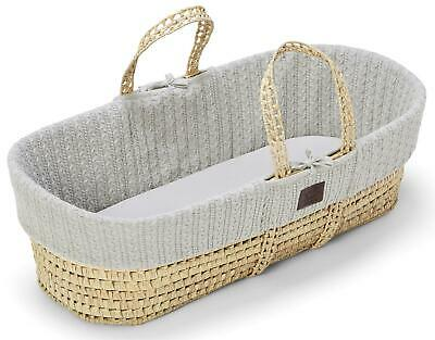 The Little Green Sheep NATURAL KNITTED MOSES BASKET & MATTRESS - DOVE