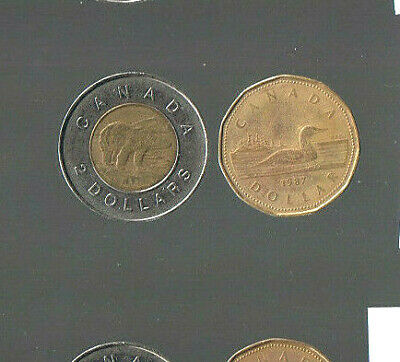 Lot Of 2)  First Year Issue ***$1  Dollars 1987 & $2  Dollars 1996*** Canada
