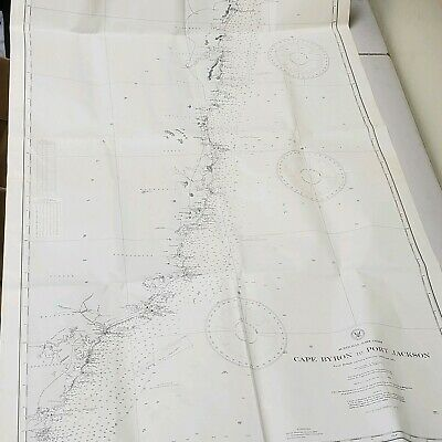 "Australia East Coast - Cape Bryon to Port Jackson Map - 27""x46"""