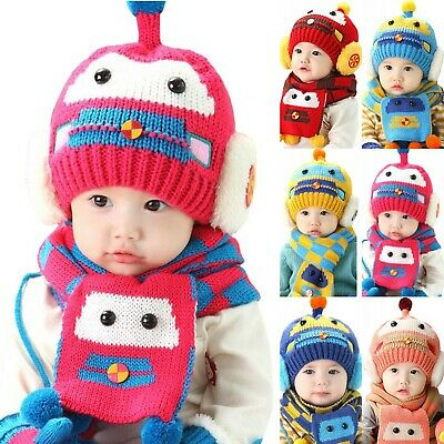 Car Baby Boys Girls Winter Warm Knit Crochet Beanie Hat and Scarf Sets Xmas Gift