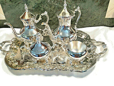 New Lady Margaret 5pc Silver Plated Coffee Set #4016082 Wallace Silversmiths