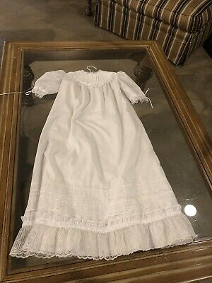 Vtg Antique Baby Christening Gown - White Cotton With Lace Collar