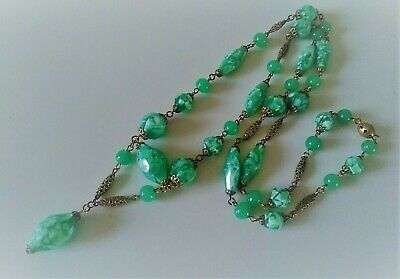 Superb Vintage Art Deco Egyptian Revival Green & Gold Bead Necklace