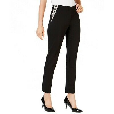 ALFANI NEW Women's Stripe-inset Dress Pants TEDO