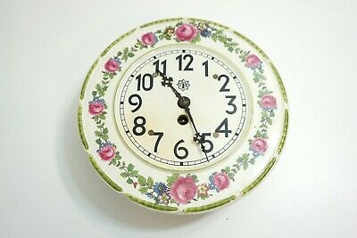 Vintage Junghans Wall Mount Ceramic Kitchen Clock Pink Roses ~ Works But As-Is
