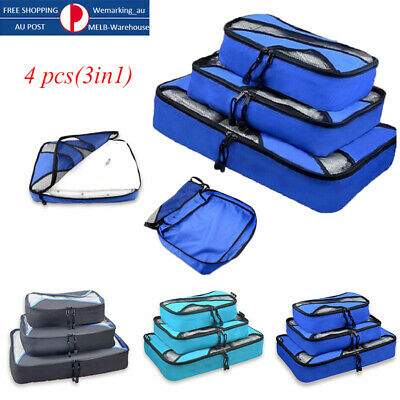 3in1 Travel Organiser Pouches Storage Bag Packing Cubes Clothes Suitcase Luggage
