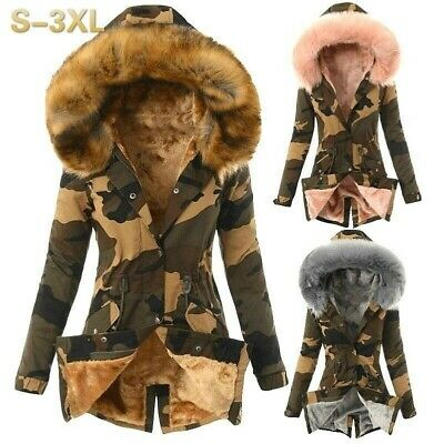 UK Winter Womens Camouflage Parka Outwear Military Hooded Coat Jacket Fur Coats