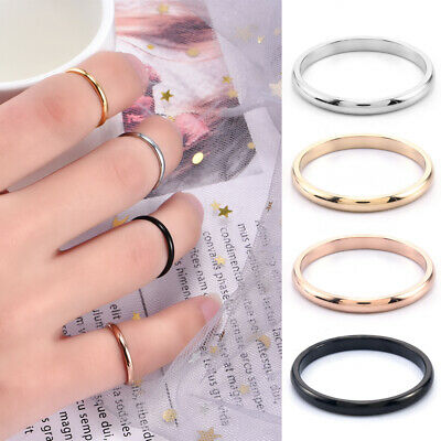 Women Jewelry 2mm Thin Stackable Ring Titanium Steel Plain Band Ring Size 5-9 FT