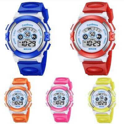 Multifunction Kids Boys Girls Digital Sports Electronic Wrist Watch Waterproof