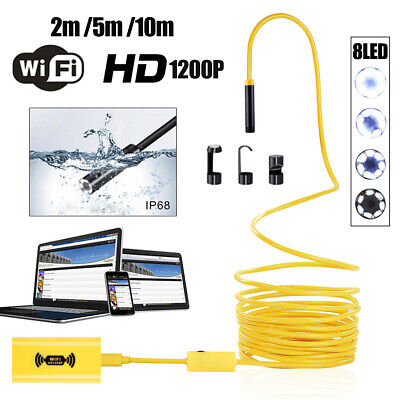 US 8LED WiFi Endoscope Borescope Inspection Camera Snake Tube For iPhone Android