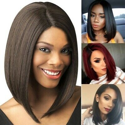 Women Ladies Real Natural Short Straight Hair Wigs BOB Style Cosplay Full Wig UK