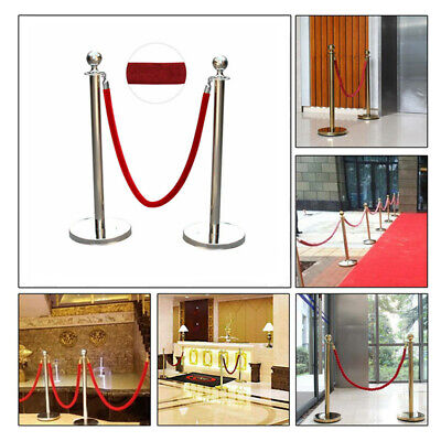 1 Pair Polished Steel Queue Rope Barrier Posts Stands Velvet Rope Stanchion Set