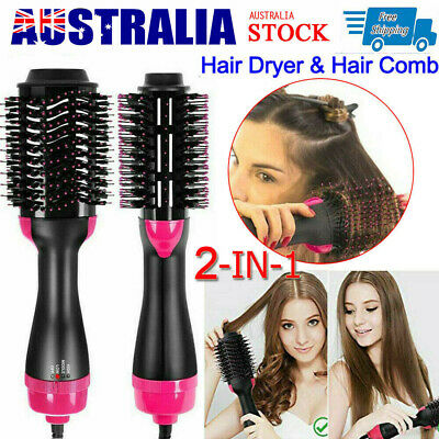 2 In 1 One Step Hair Dryer and Volumizer Brush Straightening Curling Comb AU