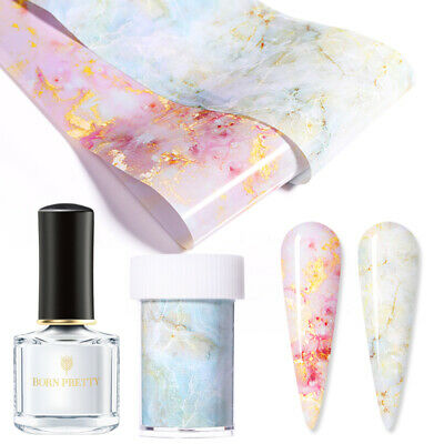 3Pcs/Set Candy Marble Nail Foils Transfer Foil Glue Nail Art Stickers Decals Kit