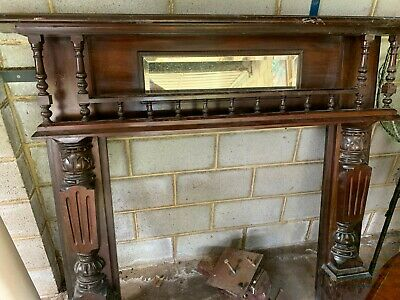 Antique Timber Wood Wooden Fireplace Mantle Surround Bevel Mirror.